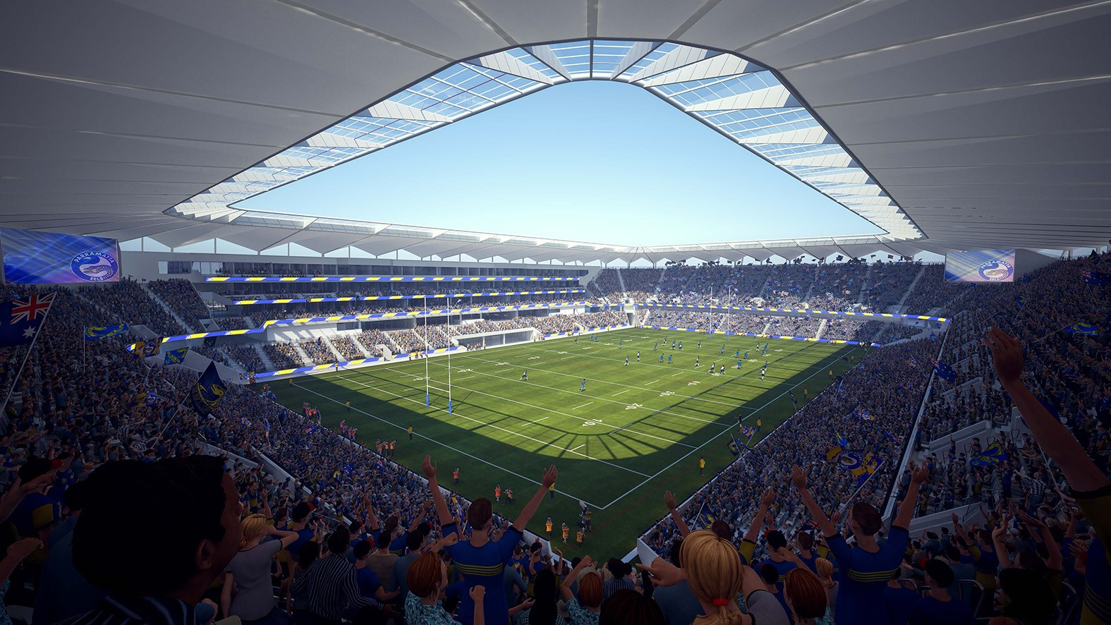 Artist impression of field and stadium