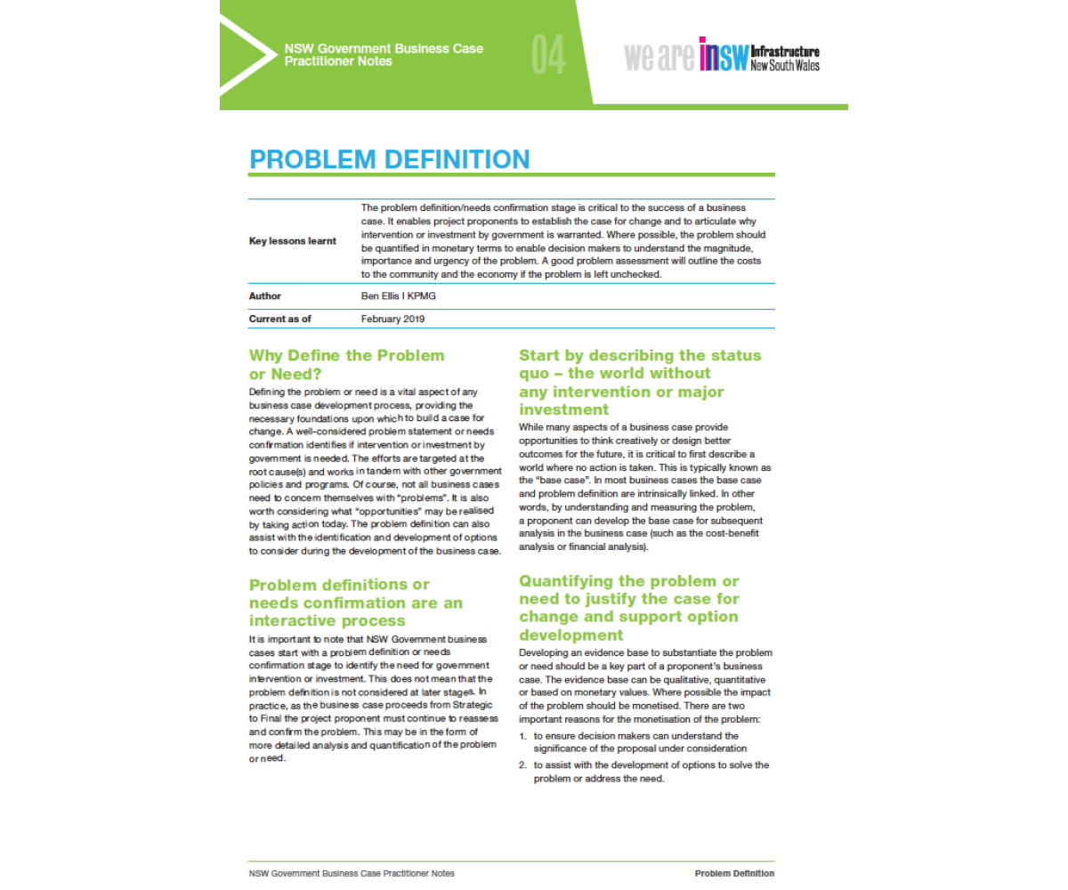 Infrastructure NSW : Business Case Toolkit